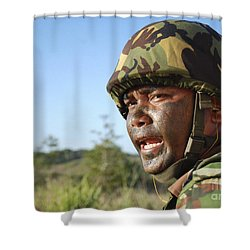 A Royal Brunei Land Force Soldier Shower Curtain by Stocktrek Images