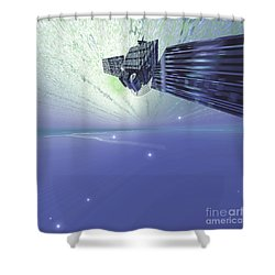 A Satellite Out In The Vast Beautiful Shower Curtain by Corey Ford
