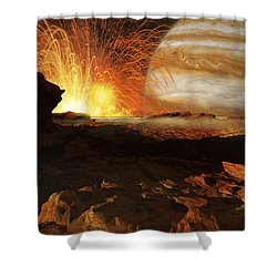 A Scene On Jupiters Moon, Io, The Most Shower Curtain by Ron Miller