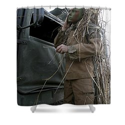 A Scout Observer Applies Camouflage Shower Curtain by Stocktrek Images