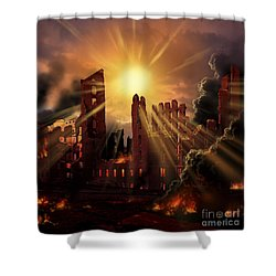 A Solar Flare, An Enormous Eruption Shower Curtain by Ron Miller