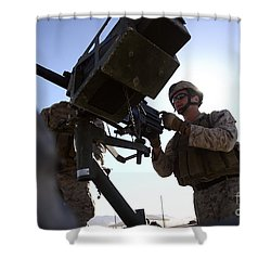 A Soldier Fires 40mm Rounds Shower Curtain by Stocktrek Images