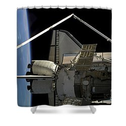 A Soyuz Vehicle And The Space Shuttle Shower Curtain by Stocktrek Images