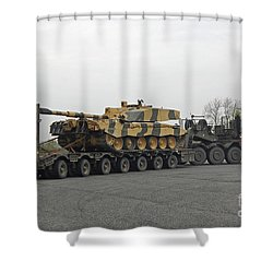 A Tank Transporter Hauling A Challenger Shower Curtain by Andrew Chittock