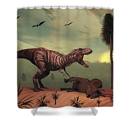 A Triceratops Falls Victim Shower Curtain by Mark Stevenson