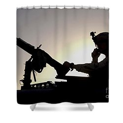 A U.s. Soldier Talks On A Hand Mike Shower Curtain by Stocktrek Images