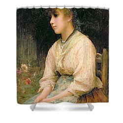 A Venetian Flower Girl Shower Curtain by Sir Samuel Luke Fildes
