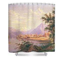 A View Of Scherzingen On The Lake Of Thun Shower Curtain by Jakob Suter