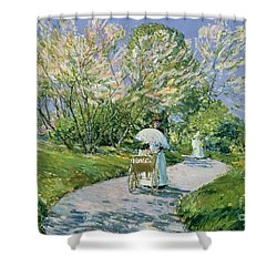A Walk In The Park Shower Curtain by Childe Hassam