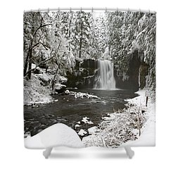 A Waterfall In To A River In Winter Shower Curtain by Craig Tuttle