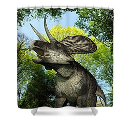 A Zuniceratops Wanders A Cretaceous Shower Curtain by Walter Myers