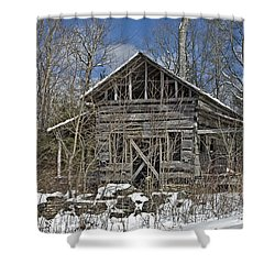 Abandoned House In Snow Shower Curtain by Susan Leggett