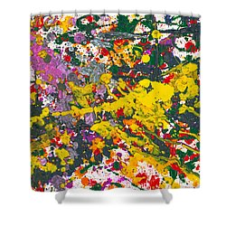 Abstract - Crayon - One Evening At The Diner Shower Curtain by Mike Savad