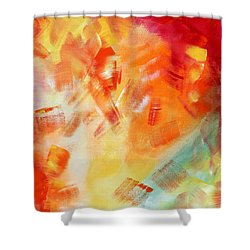 Abstract Art Colorful Bright Pastels Original Painting Spring Is Here I By Madart Shower Curtain by Megan Duncanson