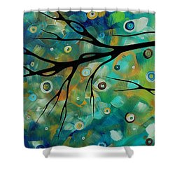 Abstract Art Original Landscape Painting Colorful Circles Morning Blues II By Madart Shower Curtain by Megan Duncanson
