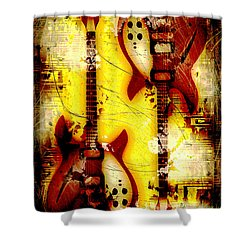 Abstract Grunge Guitars Shower Curtain by David G Paul