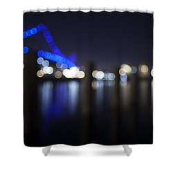 Abstract Vincent Thomas Bridge Shower Curtain by Mike Raabe