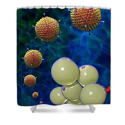 Adenovirus 36 And Fat Cells Shower Curtain by Russell Kightley