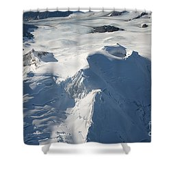 Aerial View Of Glaciated Mount Douglas Shower Curtain by Richard Roscoe