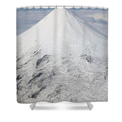 Aerial View Of Glaciated Shishaldin Shower Curtain by Richard Roscoe