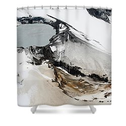 Aerial View Of Snow-covered Ruapehu Shower Curtain by Richard Roscoe