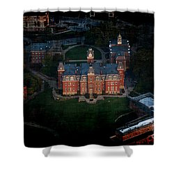 Aerial Woodburn Hall In Evening Shower Curtain by Dan Friend
