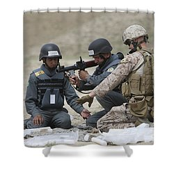 Afghan Police Students Assemble A Rpg-7 Shower Curtain by Terry Moore