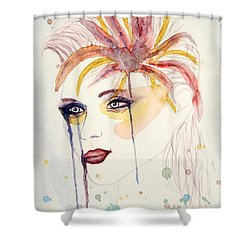 After The Show Watercolor On Paper Shower Curtain by Georgeta  Blanaru