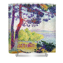 Afternoon At Pardigon Shower Curtain by Henri-Edmond Cross