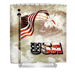 Aged Usa Flag On Pole Shower Curtain by Phill Petrovic