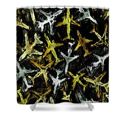 Airlines Collage Abstract Shower Curtain by David G Paul