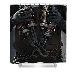 Airman Carries Aircraft Tie-down Chains Shower Curtain by Stocktrek Images