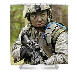 Airman Scans The Tree Line For Enemy Shower Curtain by Stocktrek Images