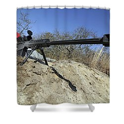 Airman Sights A .50 Caliber Sniper Shower Curtain by Stocktrek Images