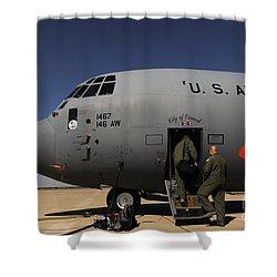 Airmen Board A C-130j Hercules At Dyess Shower Curtain by Stocktrek Images