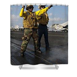 Airmen Direct An Fa-18c Hornet Shower Curtain by Stocktrek Images