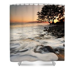 Alone With The Sea Shower Curtain by Mike  Dawson