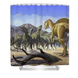 Altispinax Dunkeri Dinosaurs Attack Shower Curtain by Sergey Krasovskiy