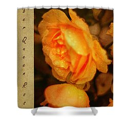 Amber Queen Rose Shower Curtain by Jenny Rainbow