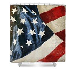 America Flag Shower Curtain by Setsiri Silapasuwanchai