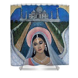 Amishi An Earth Angel Representing A Young Bride On Her Wedding Day Shower Curtain by The Art With A Heart By Charlotte Phillips