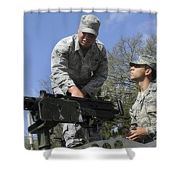 An Airman Instructs A Cadet On How Shower Curtain by Stocktrek Images