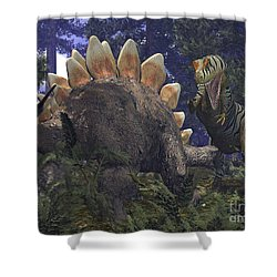 An Allosaurus Stumbles Upon A Grazing Shower Curtain by Walter Myers