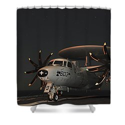 An E-2c Hawkeye Is Chained Shower Curtain by Stocktrek Images