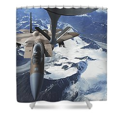 An F-15c Eagle Aircraft Sits Shower Curtain by Stocktrek Images