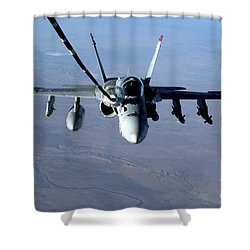 An Fa-18c Hornet Receives Fuel Shower Curtain by Stocktrek Images