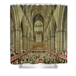An Interior View Of Westminster Abbey On The Commemoration Of Handel's Centenary Shower Curtain by Edward Edwards