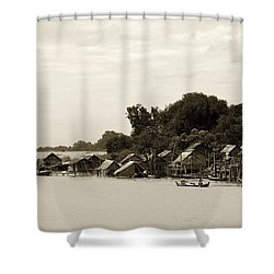 An Island Village On River Irrawaddy Shower Curtain by RicardMN Photography