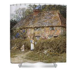 An Old Surrey Cottage Shower Curtain by Helen Allingham
