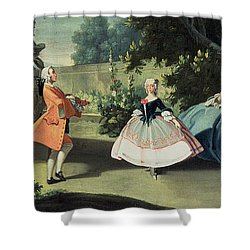 An Ornamental Garden With A Young Girl Dancing To A Fiddle Shower Curtain by Filippo Falciatore